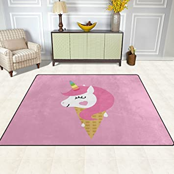 Area Rug, Unicorn Ice Cream Pink Print Carpet Designer Super Soft ...