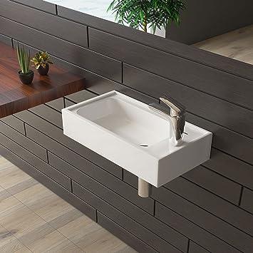 bad1a Gäste WC Waschtisch Keramik Waschbecken Weiß Handwaschbecken ...