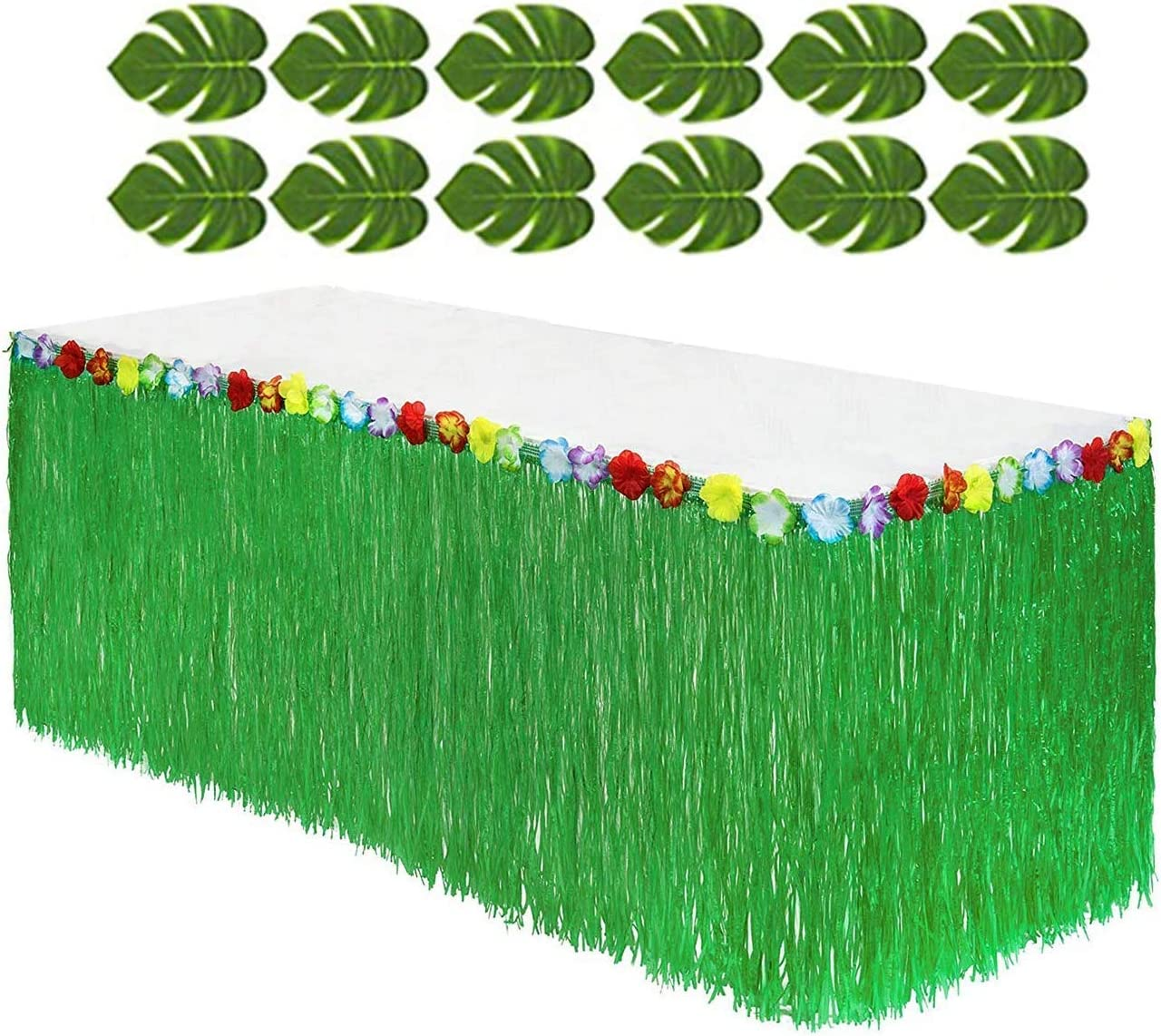 Tytroy Hawaiian Green Grass Table Skirt Luau Decoration Hibiscus Flower Tropical Leaves Bundle