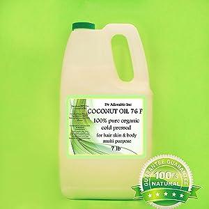Organic Pure Coconut OIL 76 Degree 7 Lb/One Gallon