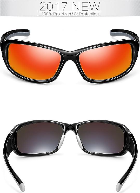 SIPLION Hombre Gafas De Sol Polarizado Lente TR90 Súper ligero Marco (rojo): Amazon.es: Ropa y accesorios