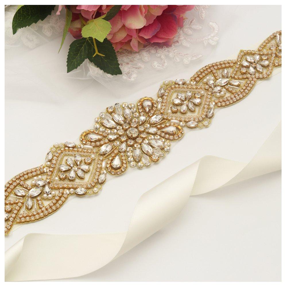 Yanstar Handmade Gold Rhinestone Crystal Pearls Wedding Bridal Belt Sash With Ivory Ribbon Sashes for Evening Party Prom Bridesmaid Dress