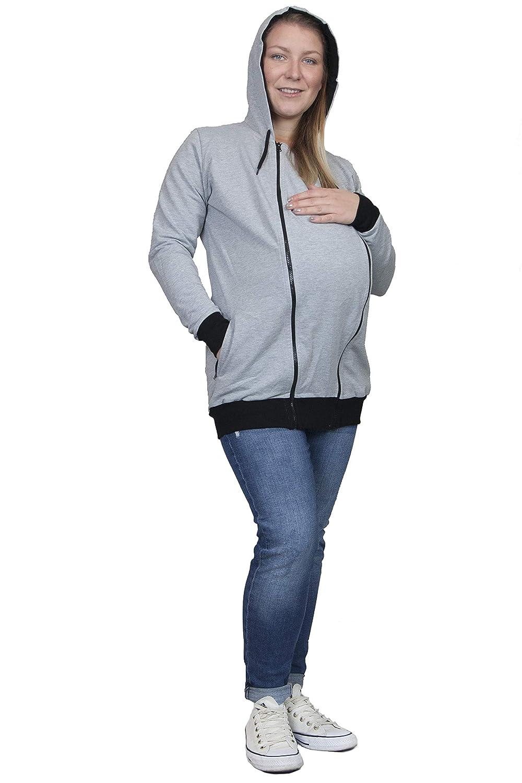 Umstandsjacke Evagreen Tragejacke 3 in 1 f/ür Mama Papa und Baby Sportliche Freizeitjacke mit Babyeinsatz