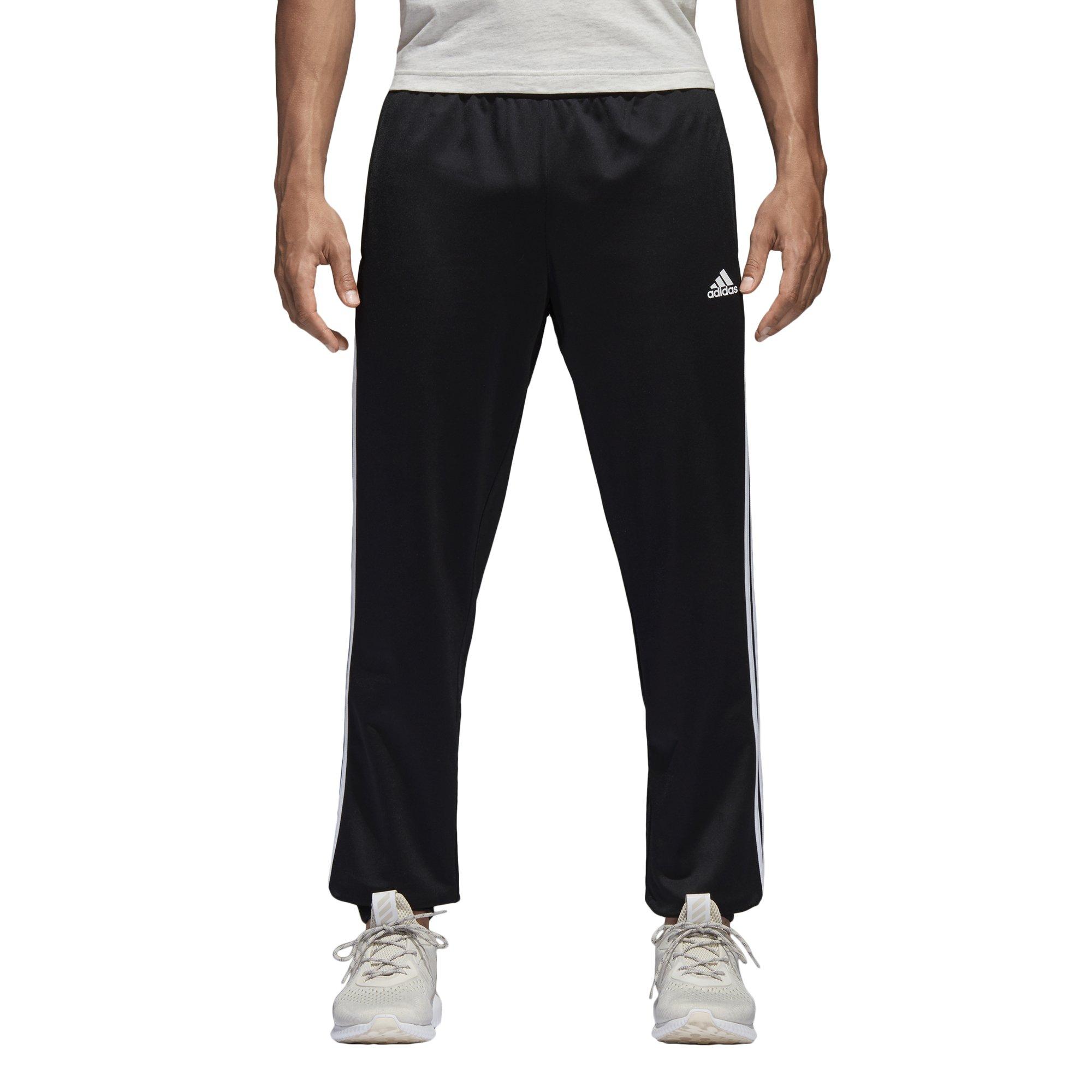 adidas Men's Athletics Essential Tricot 3 Stripe Tapered Pants, Black/White, Large