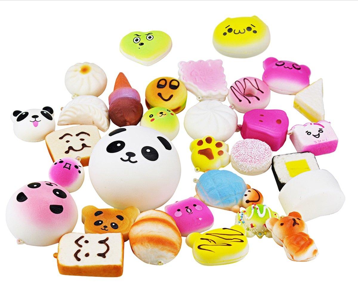 10 Pieces Random Squishy Charms Kawaii Soft Foods Jumbo Medium Mini Squishies Cake/Panda/Bread/Buns Phone Charm Key Chain Strap Y2