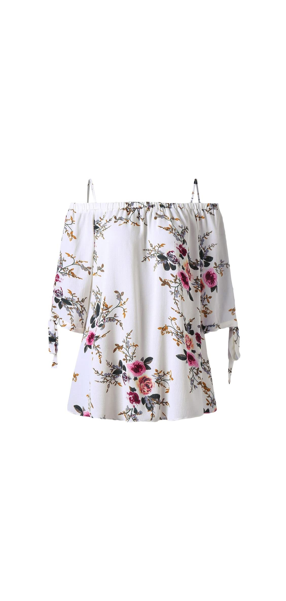 Women Plus Size Floral Classic Straps Cold Shoulder Sleeve