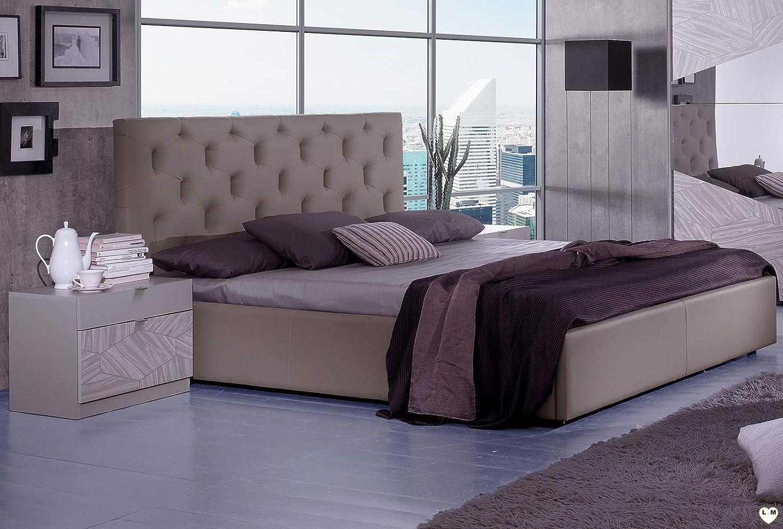 Chambre A Coucher Design: L' Ensemble avec L' Armoire 2 Portes Coulissantes + Le Lit 160/200 + Les 2 Chevets + La Commode + Le Miroir