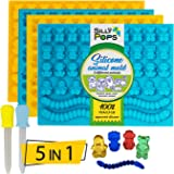 Non-Stick Gummy Bear Mold Bpa Free Silicone (Yellow Blue) - Set of 4 for 172 Candies - 5 Different Types of Animals ? Dropper Included ? Candy Molds Gummy Worm Mold Gelatin Molds