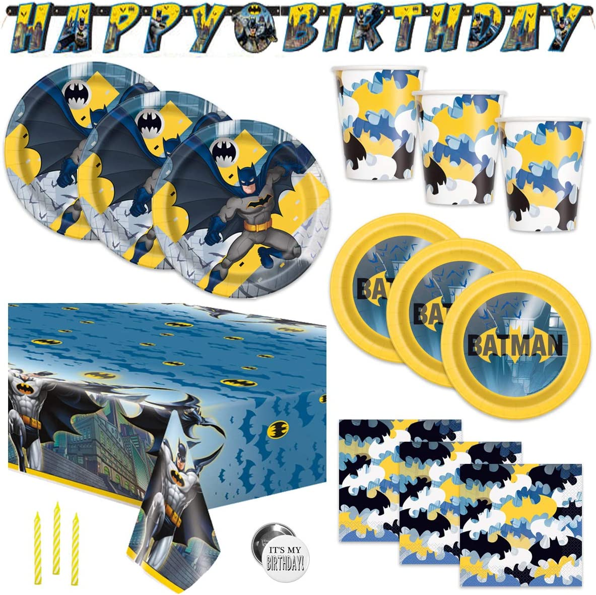 Batman Theme Birthday Party Supplies Set - Serves 16 Guests - Banner Decoration, Tablecover, Plates, Cups, Napkins, Candles, Button