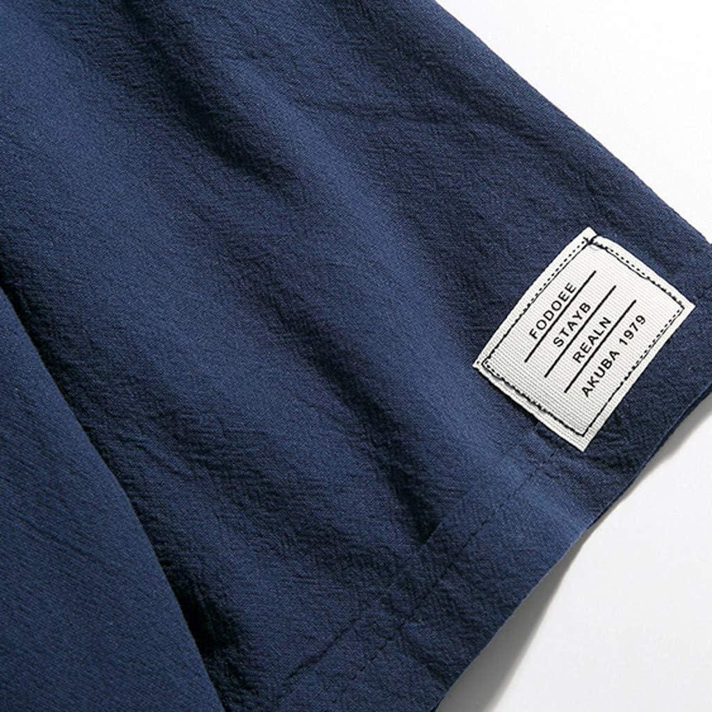 Qinhanjia Hemd Herren Kurzarm Einfarbiges Loses T-Shirt Aus Baumwolle Und Leinen In /Übergr/ö/ße Herren Sommer Casual Pure Color Kurzarm Baumwolle Und Hanf T-Shirt Tops