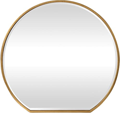 MY SWANKY HOME Luxe Gold Iron Round Arch Wall Mirror 42 Sunrise Vanity Circle Thin Frame