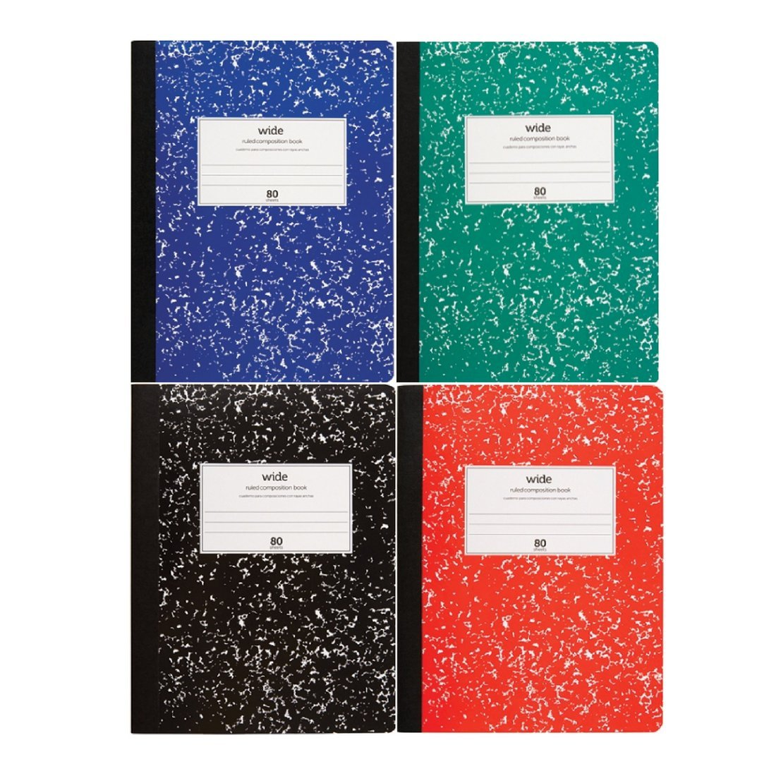 Office Depot Wide Ruled Composition Books 80 Sheets Set of 4 Blue Green Red Black