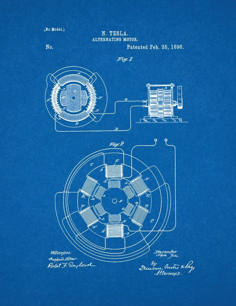 Amazon.com: Tesla Alternating Motor Patent Print Art Poster ...