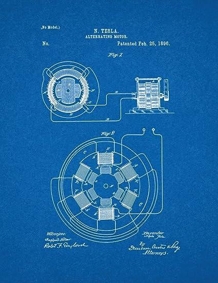 Amazon tesla alternating motor patent print art poster tesla alternating motor patent print art poster blueprint 11quot malvernweather Image collections