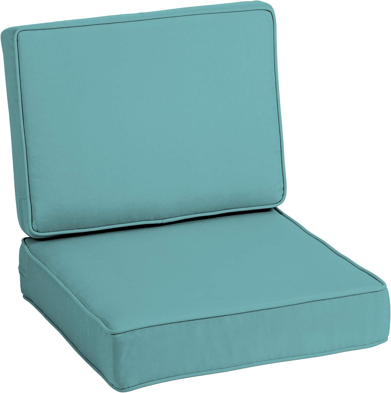 Arden Selections Profoam Evertru Acrylic 24 X 24 X 6 Inch Outdoor Deep Seat Cushion Set Surf Teal Garden Outdoor