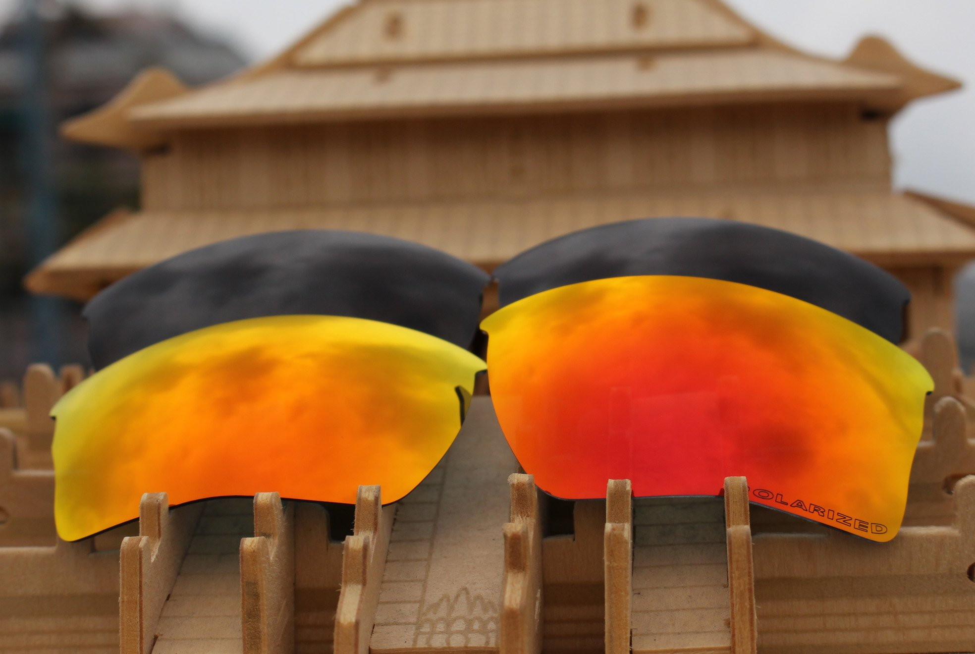2 Pairs Polarized Lenses Replacement Red & Black for Oakley Quarter Jacket Sunglasses by BVANQ (Image #2)