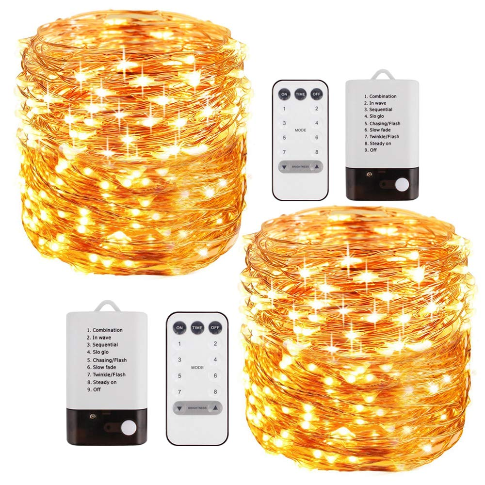 Foxcesd 2 Pack 33 ft LED String Lights Battery Powered Dimmable with Remote Control Waterproof Decorative Copper Wire Fairy Lights for Bedroom Patio Garden Yard Party Christmas Warm White