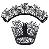 VENMO 12PCS Halloween Cupcake Paper Wrapper Lace Laser Cut Cupcake Wrap Holder Liner Baking Cup Muffin Case (A)