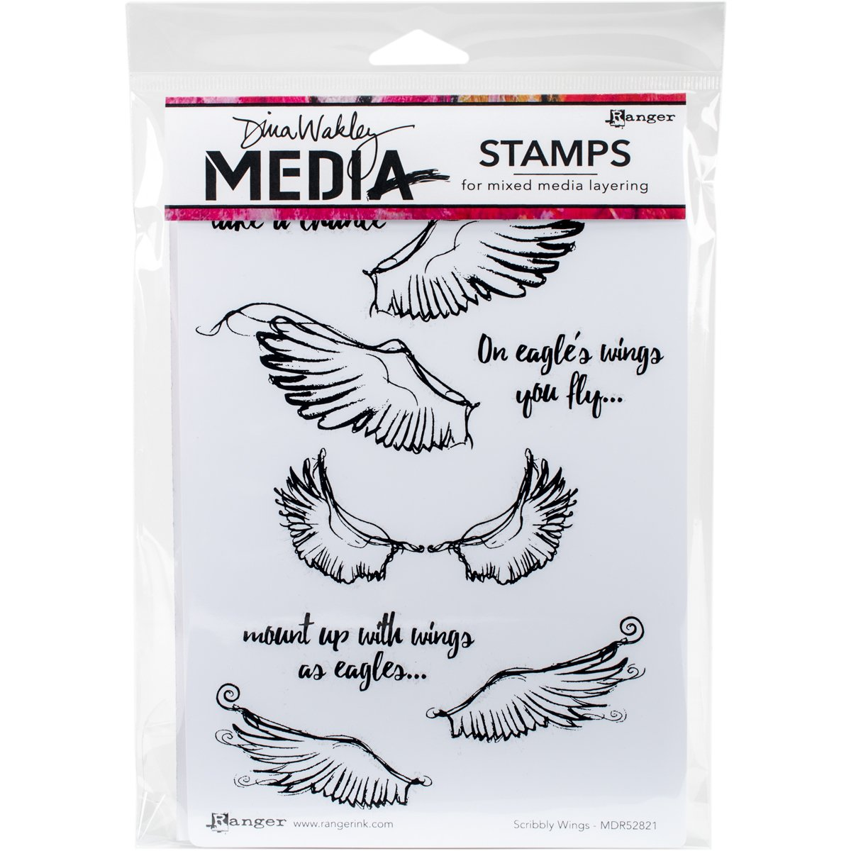 Ranger Dina Wakley Media Cling Stamps Scribbly Wings (12 Pack)