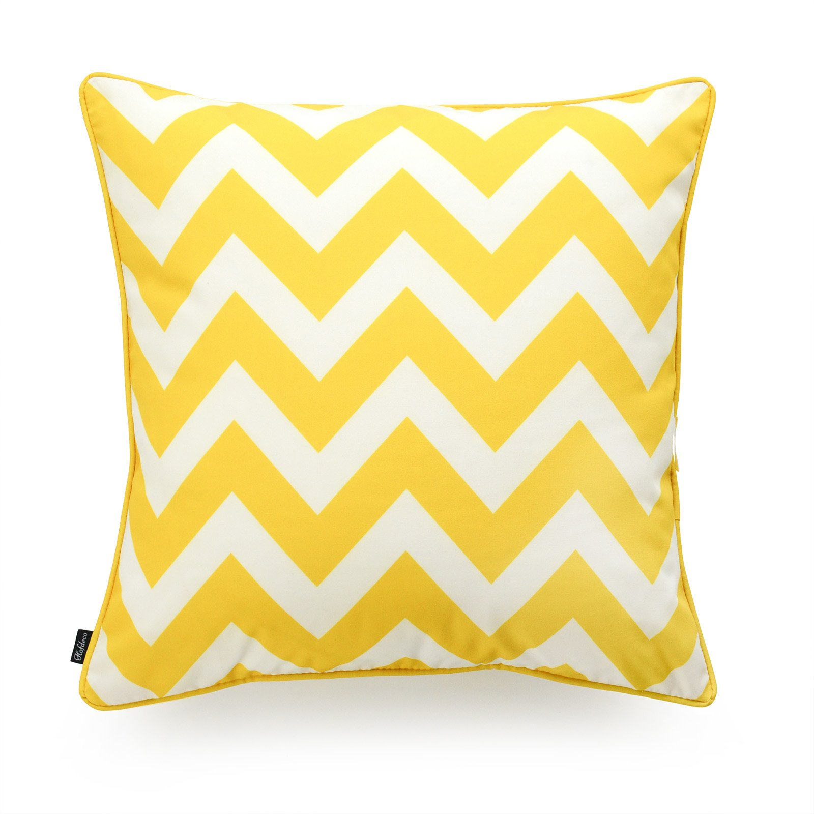 Hofdeco Decorative Throw Pillow Cover INDOOR OUTDOOR WATER RESISTANT Canvas Vibrant Yellow Zigzag Chevron 18''x18''