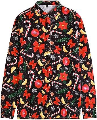 Camisa De Pareja De Hombres Y Mujeres Camisa De Bastón De Nieve De Navidad Camisa De Manga Larga De Impresión 3D Camisa De Navidad Suelta De Gran Tamaño: Amazon.es: Ropa y accesorios