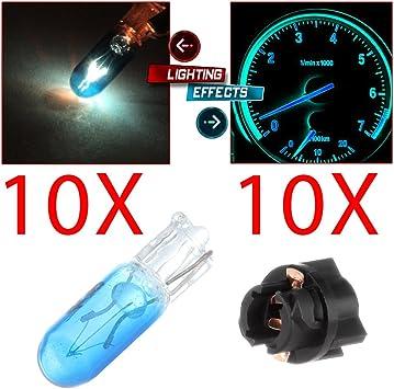 10x T5 74 24 Wedge Universal Amber Flat Top LED Light Bulbs Dash Instrument HVAC