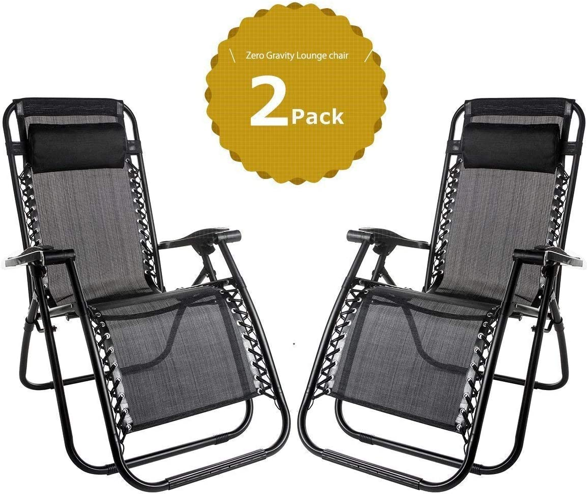 Nyyi Set of 6 Heavy Duty Textoline Zero Gravity Chairs Garden Outdoor Patio  Sunloungers Folding Reclining Chairs Lounger Deck Chairs