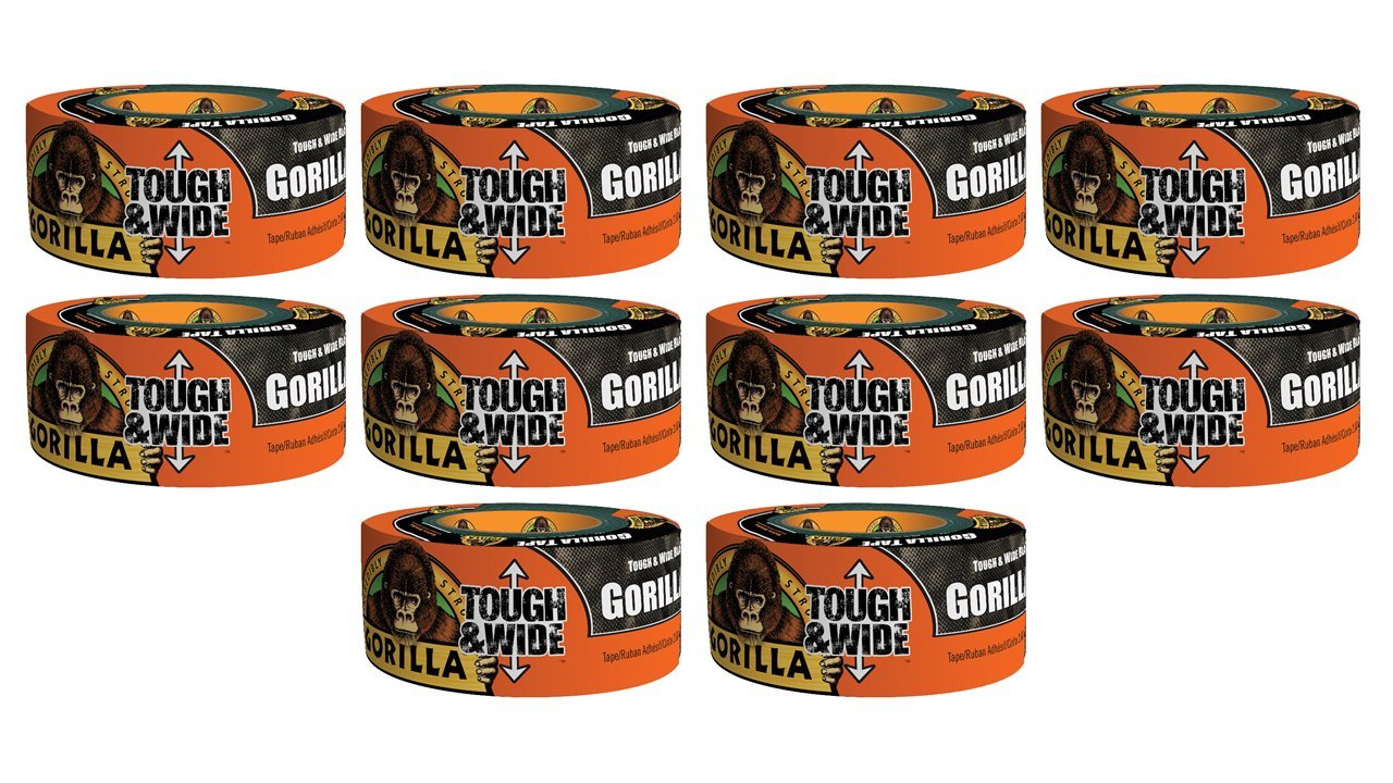 Gorilla Tape, Black Tough & Wide Duct Tape, 2.88'' x 30 yd, Black, (Pack of 10) by Gorilla (Image #1)