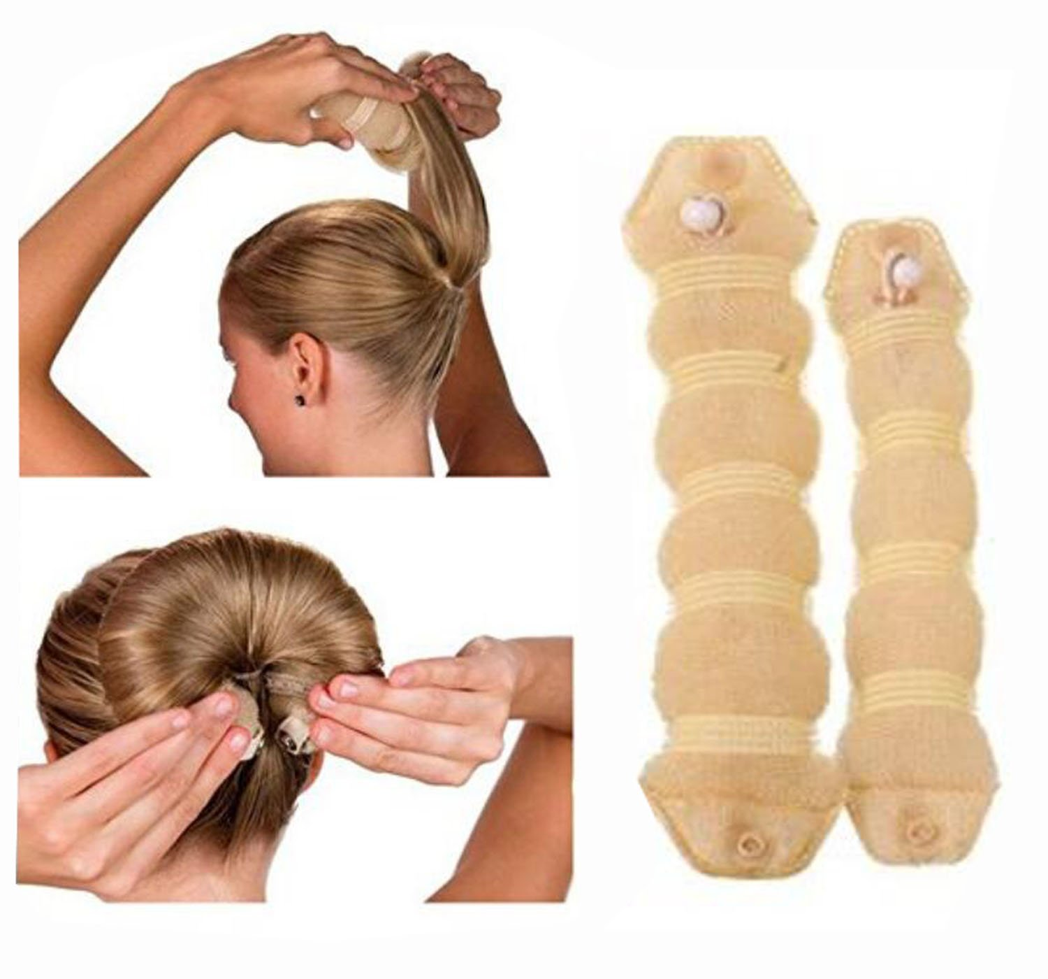 2PCS (1Large + 1 Small) Beige Magic Hair Donut Bun Maker Hair Ring Styler Tool Hot Scrunchie Chignon Roll Up Hairpiece Round Bun Updo Elastic Hair Tie Holder Bun Crown Shapers For Women Girls Lady ​ TUPWEL-1