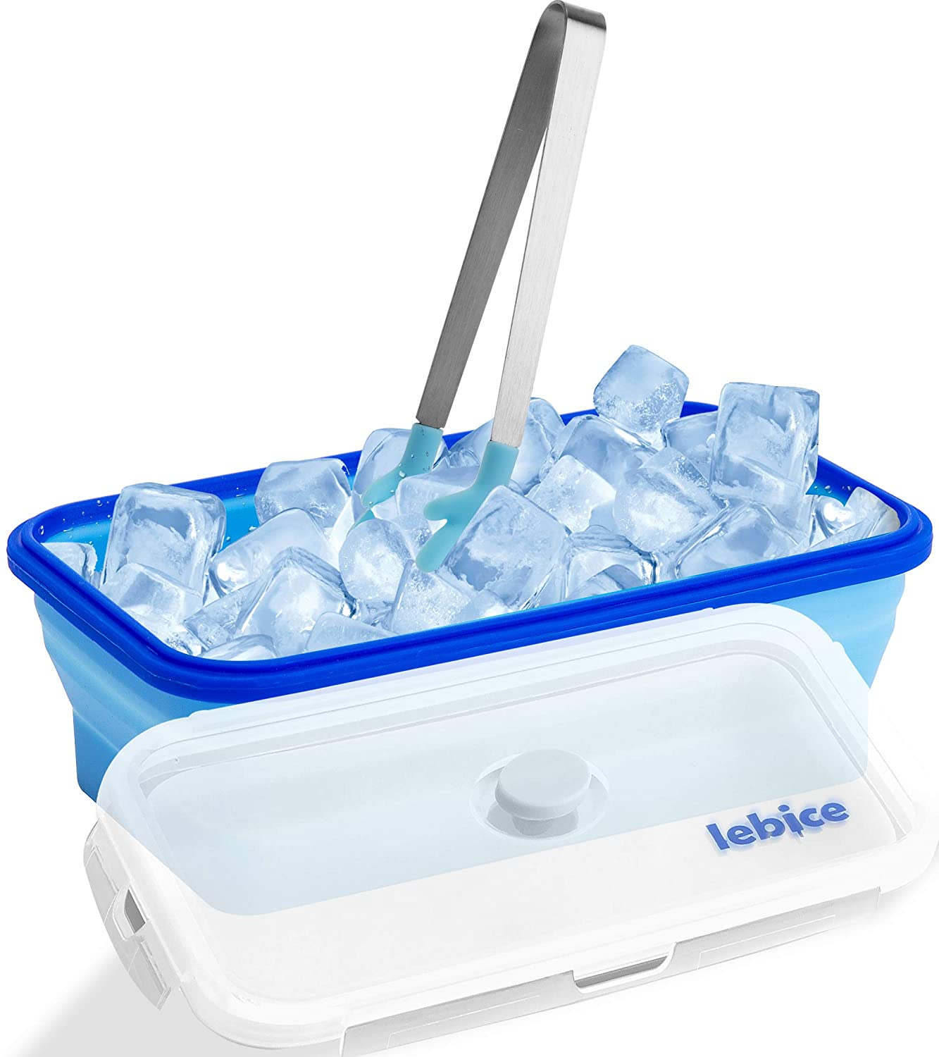 Lebice Ice Cube Bucket Made of Silicon, Ice Cube Freezer Storage Bin, Uniquely Designed Ice Bucket, Suitable For Various Parties, Durable and of + Tongs + Recipy eBook!