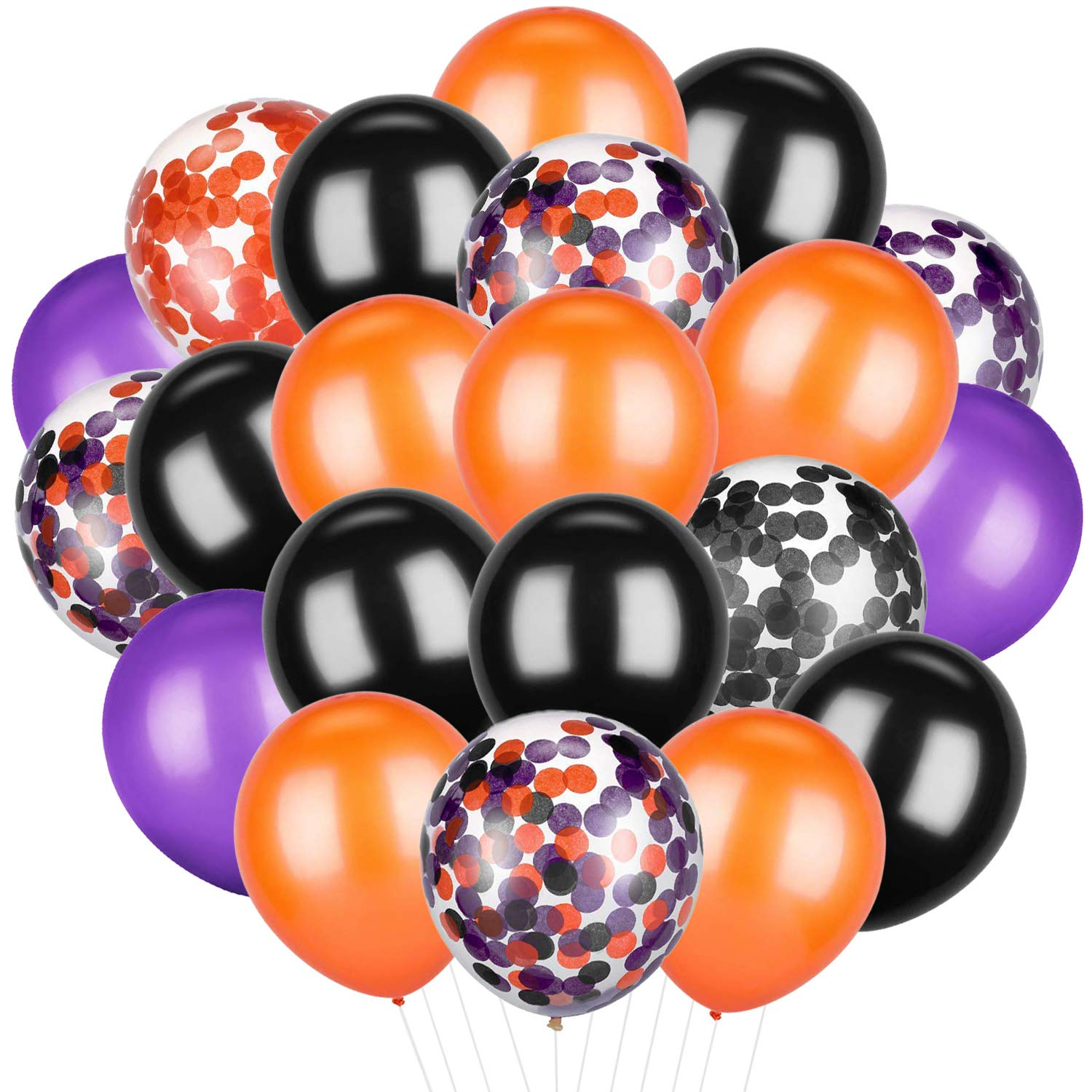 Patelai 50 Pieces Halloween Balloons Orange Black Purple Confetti Balloons Latex Balloons for Party Decoration Supplies, 12 inch VANVENE