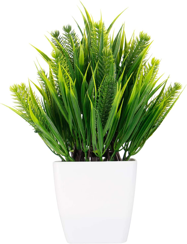 WOODWORD Artificial Plants for Room Decor - Potted Fake Plants for Home Decor - Face Plants in White Pots for Bathroom Decor Office Decor