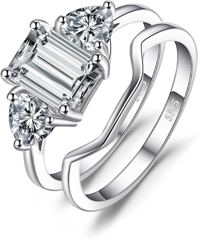 Three Stone 3-Stone Emerald Cut Diamond CZ Wedding Engagement Bridal Promise Ring Round Diamond CZ 925 Sterling Silver