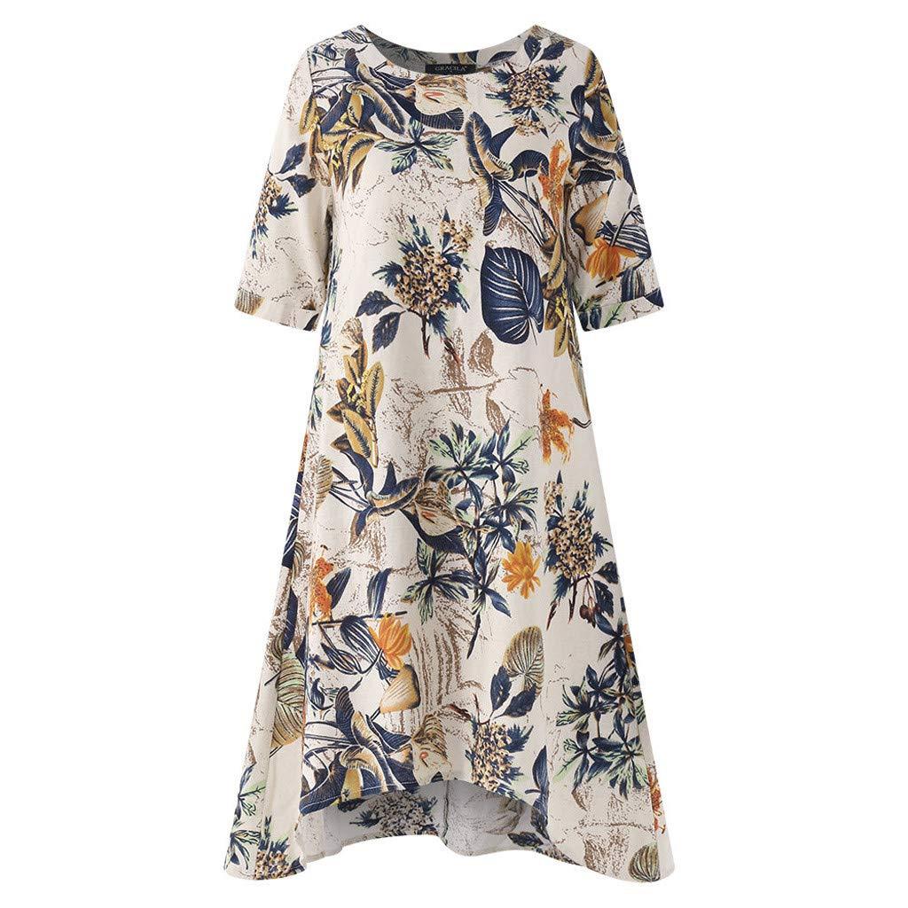 Wave166 Floral Printed Dress for Women,Summer Women Girls Boho Loose Mini Dress,Casual O-Neck Short Sleeve Irregularity Vintage Dress Sundress,Wawer Dress