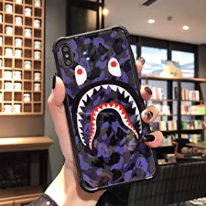 Mjzhw Soft TPU Edge Glass Back case Shockproof and Durable Bape Shark Mouth Phone case for iPhone 11 (Dark Blue, iphone11)