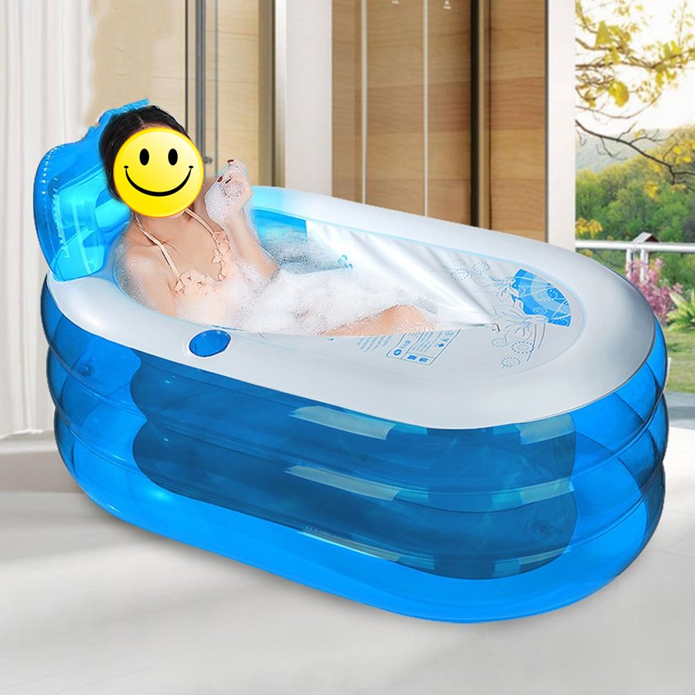 Adult/child fold Transparent plastic Inflatable bathtub Double drain Thickening independent Three layers Inflated Bath barrel Bath Tub 57x31x26 Inches (Blue) by NOPTEG