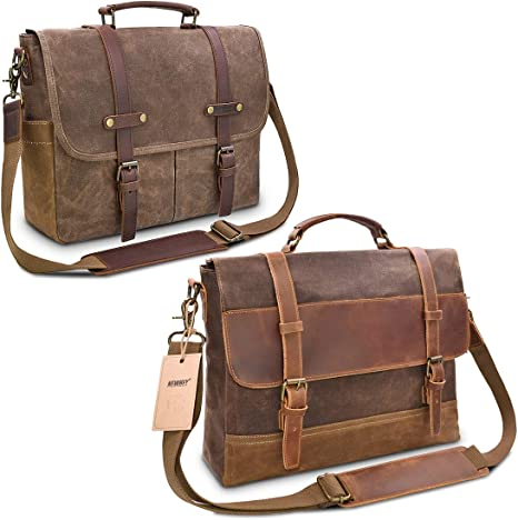 Mens Messenger Bag Vintage Genuine Leather Large Laptop Briefcase 15.6 Inch Waterproof Waxed Canvas Satchel Shoulder Bag Rugged Leather Computer Work Bags Brown NEWHEY