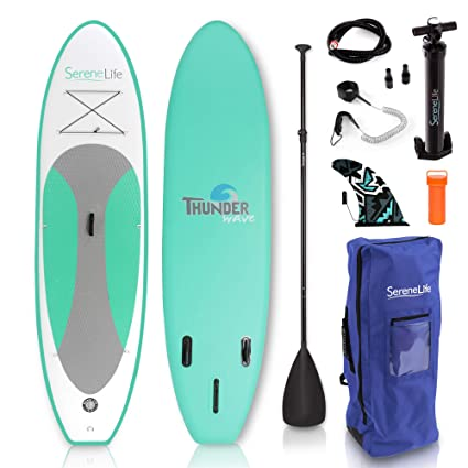 serenelife hinchable Stand Up Paddle Board (6 cm de grosor) Universal Sup amplia Stance W/parte ...