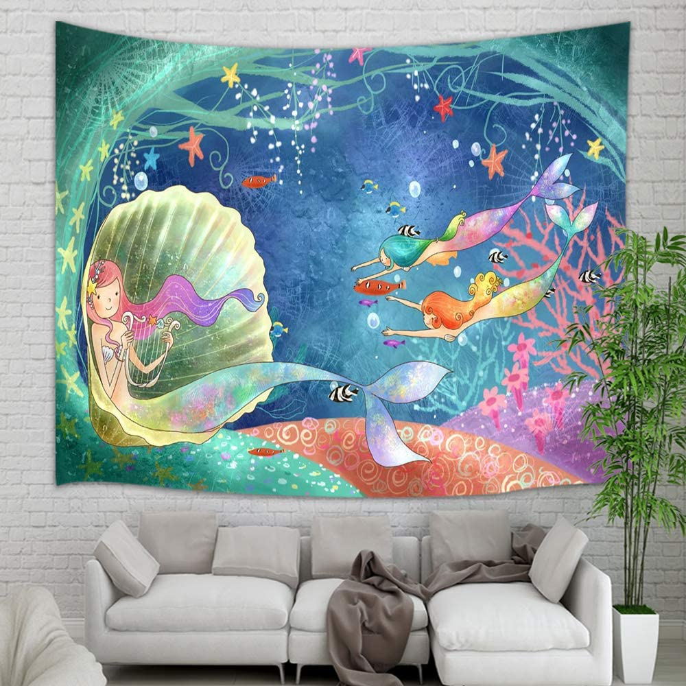 "KOTOM Teen Girl Tapestry Wall Hanging, Underwater World Watercolor Mermaid in Seashell Wall Tapestry Art for Home Decorations Dorm Decor Living Room Bedroom Bedspread, 60""X40"""