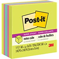 Post-it Super Sticky Notes, 3x3 in, 1 Cube, 2X The Sticking Power, Bright Colors, Recyclable (2027-SSGFA)