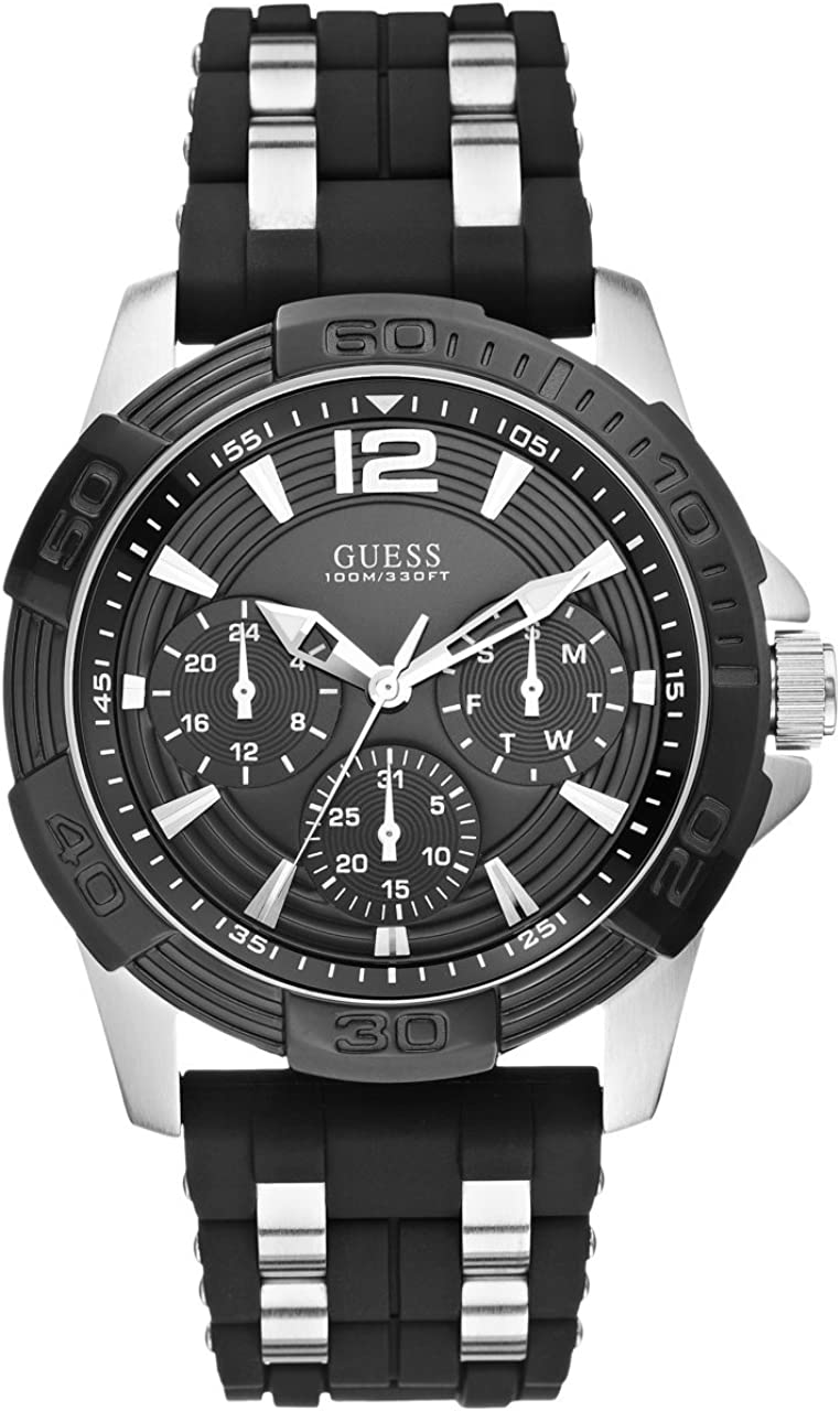 GUESS Black Stainless Steel Stain Resistant Silicone Watch with Day, Date 24 Hour Military Int l Time. Color Black Model U0366G1