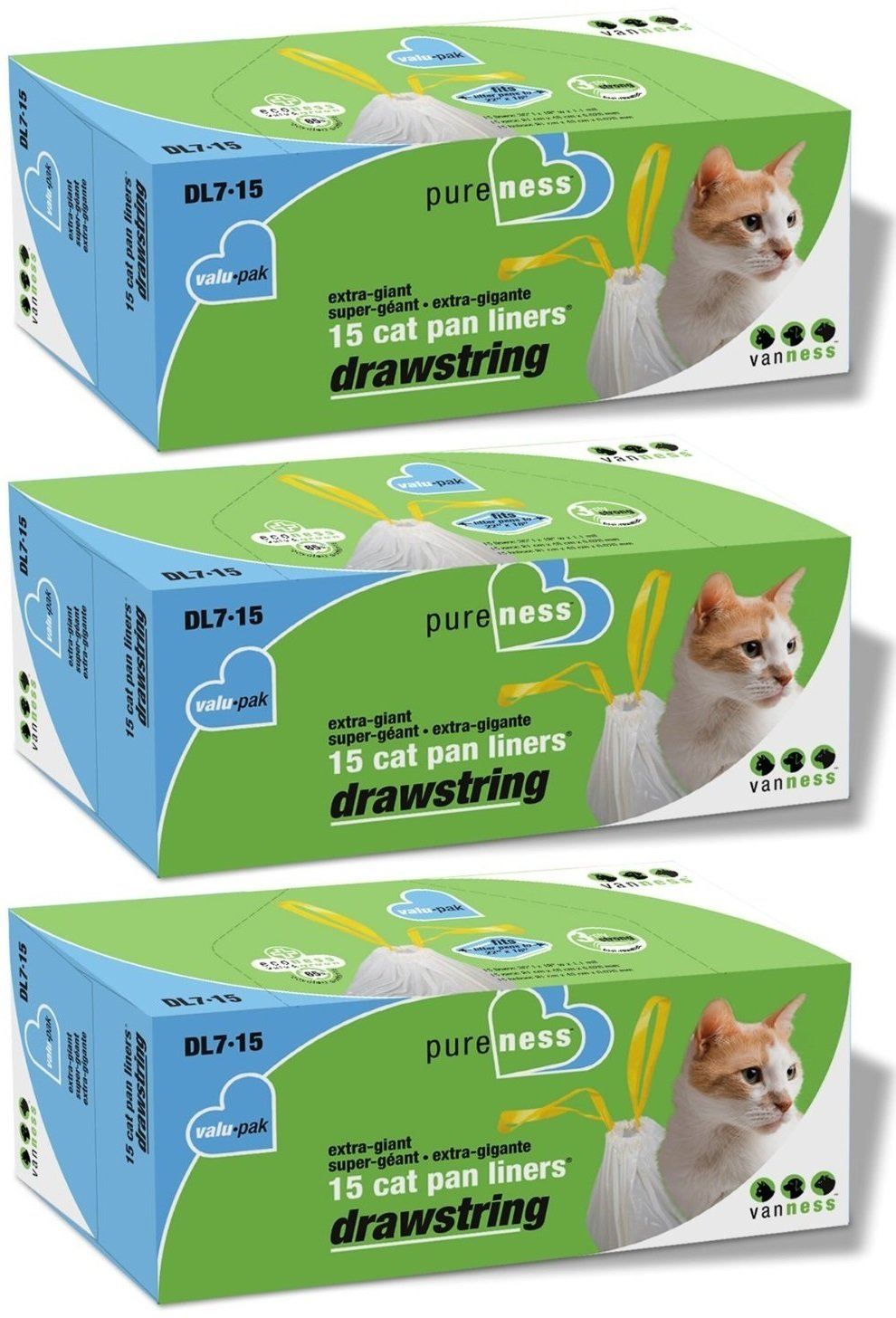 Van Ness DL715 PureNess Extra Giant Drawstring Cat Pan Liner, 45-Count (3 x 15 Count Boxes)