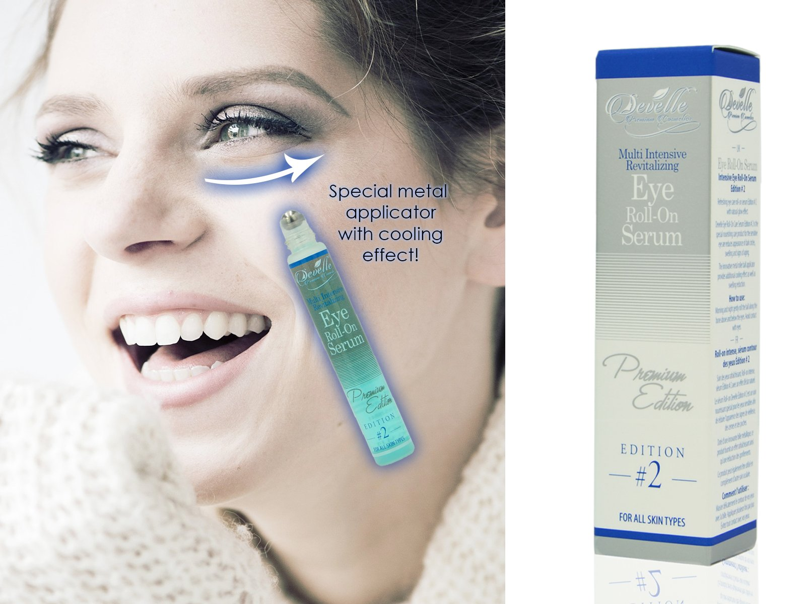 Develle Eye Roll-On | 10 ml bottle | Eye lotion | Eye serum |BLUE Premium Edition | Anti wrinkle eye serum