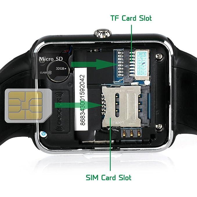 CHEREEKI Bluetooth Smartwatch con cámara soporta tarjeta SIM TF, Reloj de teléfono Pantalla táctil Reloj inteligente Podómetro Pulsera para teléfonos ...