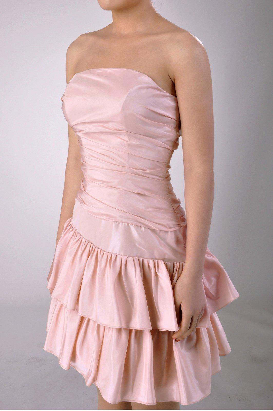 Taffeta Natrual Bateau Short Strapless Homecoming Modest Bridesmaid Dress Short, Color White,14 by Adorona (Image #6)