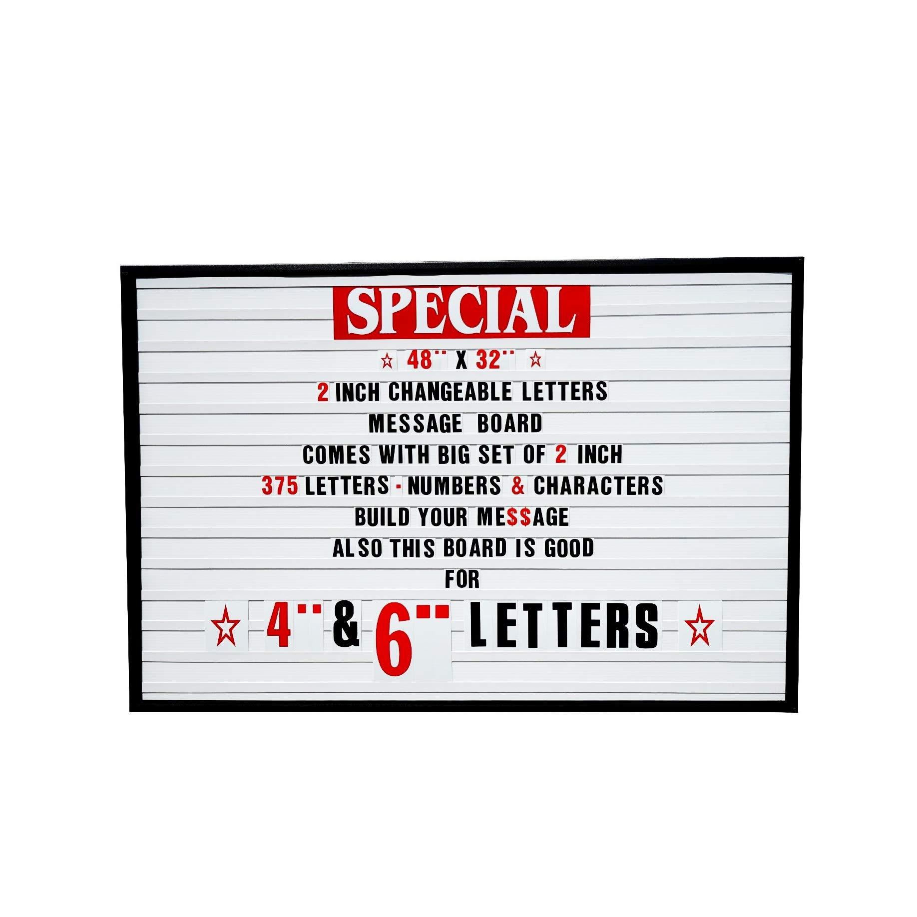 48''x32'' Outdoor Changeable Letter Message Board Marquee Sign with Metal Frame - Clear Acrylic Protection Cover and 2 Inch Letters Set!