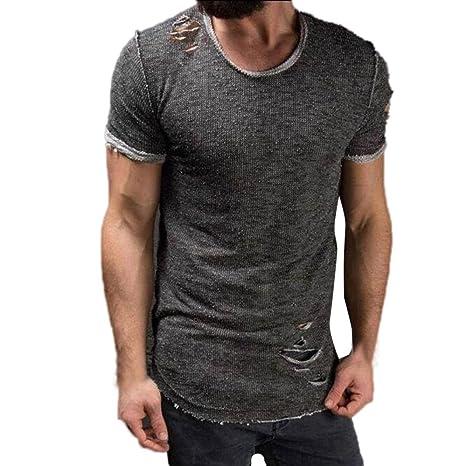 Camiseta y polos basica,Beikoard Agujero redondo collar Moda camisa de los hombres de manga