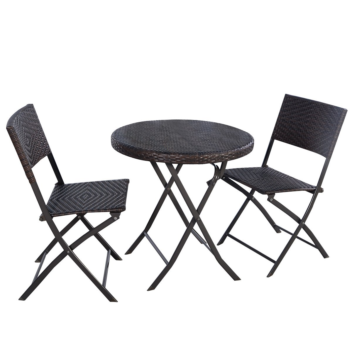 Amazon Giantex 3PC Folding Round Table & Chair Bistro Set