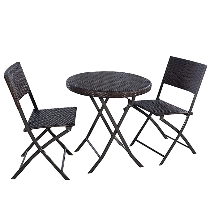 Amazon.com: Giantex 3PC Folding Round Table U0026 Chair Bistro Set Rattan  Wicker Outdoor Furniture: Garden U0026 Outdoor