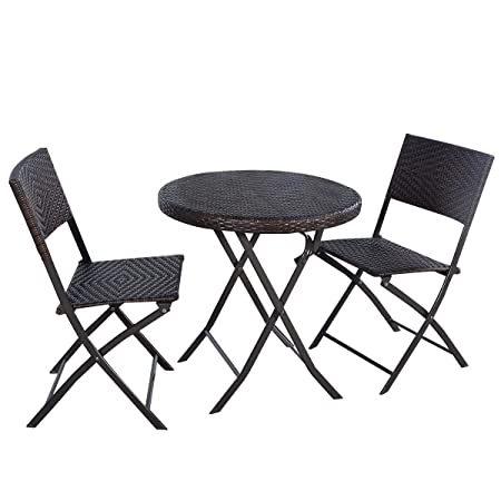 Giantex 3PC Folding Round Table Chair Bistro Set Rattan Wicker Outdoor Furniture